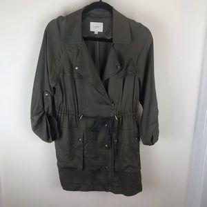 Loft Sz XS Navy Green Two Pockets Zip Snap Jacket